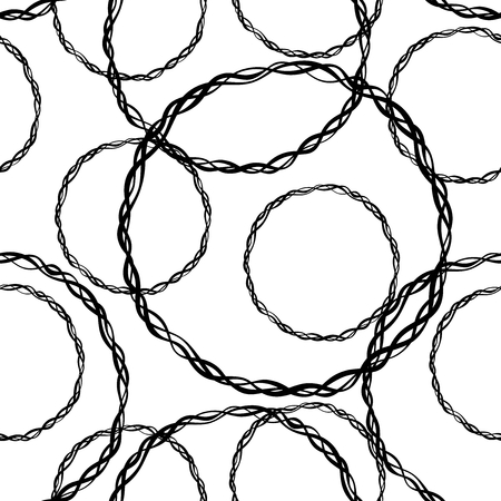 twigs: Abstract pattern with different rings braided from twigs. Seamless chaotic texture