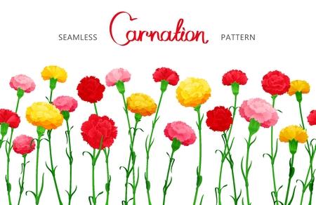 Nahtlose horizontale Grenze von Carnation Blumen. Die bunten Knospen auf langen Stielen. Mittlerer Füllraum Design