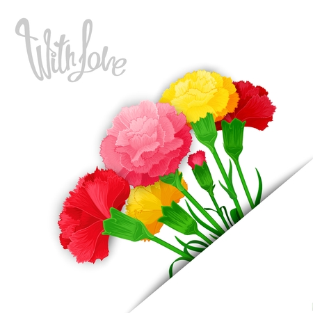 chit: With Love. Vector template of bouquet flowers Carnations in stylized cuts paper. Location of on the diagonal.