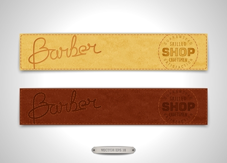 stitching: Two vintage banners for Barbershop. Realistic leather texture with stitching and embossed inscription.  Vector illustration