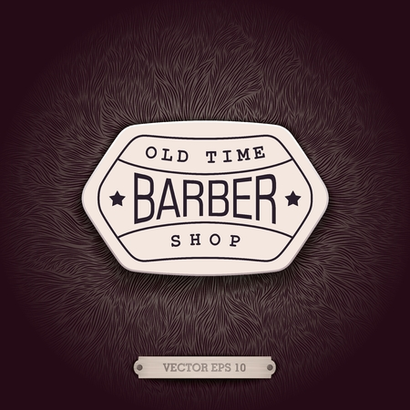 shaggy: Stylish background for Barbershop with a unique shaggy texture and volumetric emblem.  Realistic design for ads and decoration.