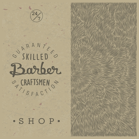 shaggy: Stylish retro template for Barber Shop in old style on paper texture. Vector illustration.  Old school themed emblem and the unique shaggy backdrop.