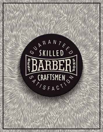 shaggy: Stylish background for Barbershop with unique shaggy texture and volumetric emblem.  Poster design for ads and decoration. Illustration