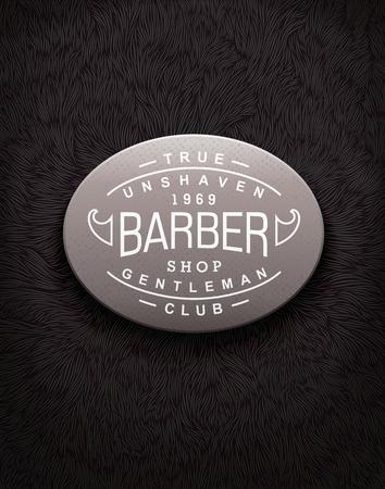 shaggy: Vintage label for Barbershop with unique shaggy texture Illustration