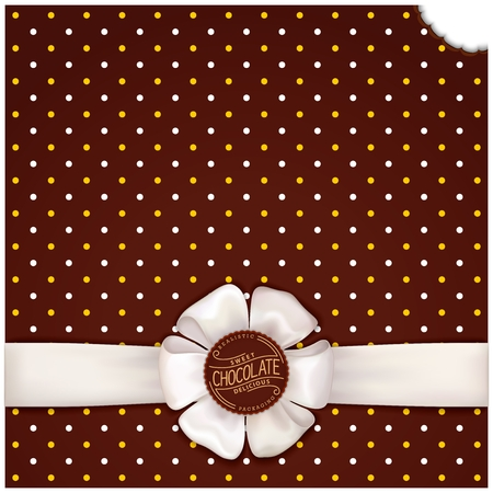 Chocolate vector background with satin ribbon and bow. mmm... Sweet delicious template for web and print