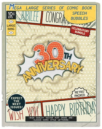 th: 30 th anniversary. Happy birthday placard. Explosion in comic style with realistic puffs smoke.  Vector vintage banner, poster for web and print template Illustration