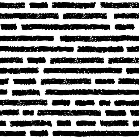 trait: Vector seamless pattern. Black horizontal lines with discontinuities. Imitation text.  Charcoal or pencil drawing. Grunge texture of fabric, background, print and web