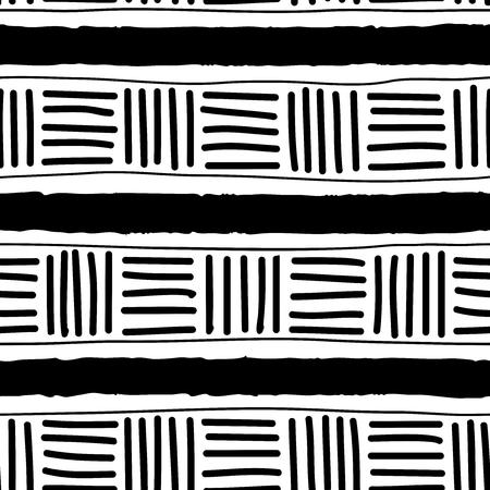 Prosty wzór linii i kresek. Stylizujący się antyczny ornament. Wektor czarno - biała tekstura