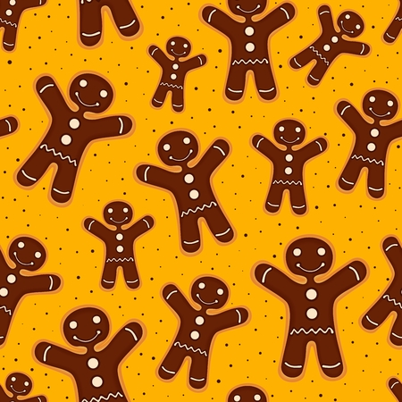 Christmas festive decoration. Seamless pattern from cookies with chocolate. Vector illustration Illustration