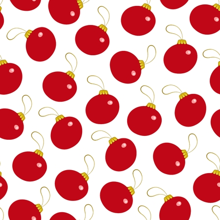 Seamless pattern from Christmas decorations red ball. Vector illustration