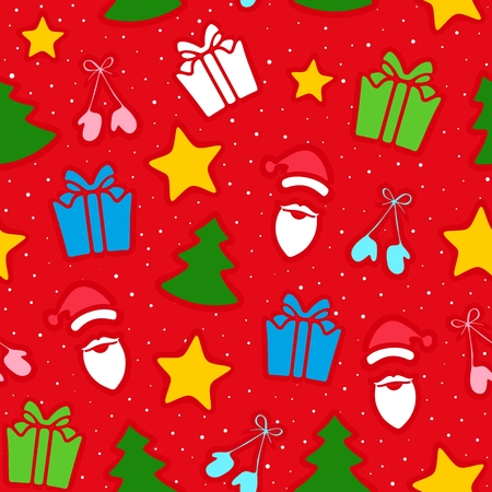 Christmas decoration of pattern from traditional festive elements. Seamless texture. Vector illustration