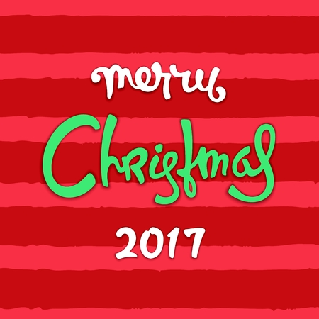 Vivid Christmas card. Hand-drawn greetings calligraphy on very bright background in traditional  celebration color