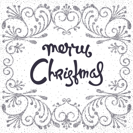 Festive Christmas card. Richly decorated, 3D pattern and calligraphic inscription. Trendy vector illustration
