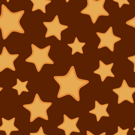 Seamless pattern from cookies in form star. Christmas festive decoration. illustration Illustration