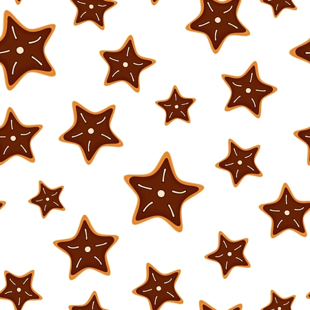 Seamless pattern from cookies in form star. Christmas festive decoration. isolated illustration