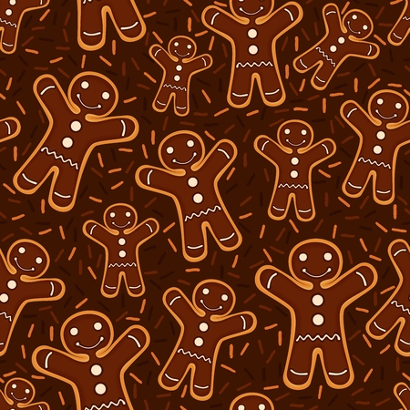 Christmas festive decoration. Seamless pattern from cookies with chocolate. illustration