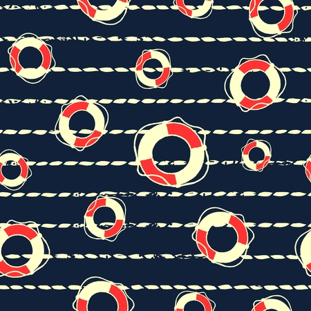 Seamless pattern on the nautical theme. Silhouettes life buoy on the background of the marine rope.  illustration