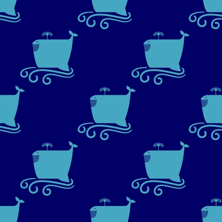 Just seamless pattern on the marine themed. Simple funny whale on blue swirl waves background.  illustration