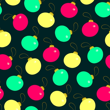 Seamless pattern from Christmas decorations varicolored ball. illustration