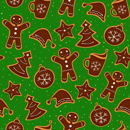 Christmas decoration of pattern from festive cookies with chocolate.  Seamless texture.  illustration Illustration