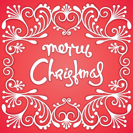 Festive Christmas card. Richly decorated, 3D pattern and calligraphic inscription. Trendy  illustration