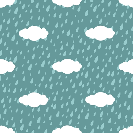 Seamless pattern. Simple silhouette of clouds and rain. illustration Illustration