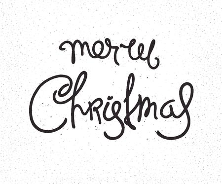 Hipster Christmas retro label. Monochrome  calligraphy Illustration
