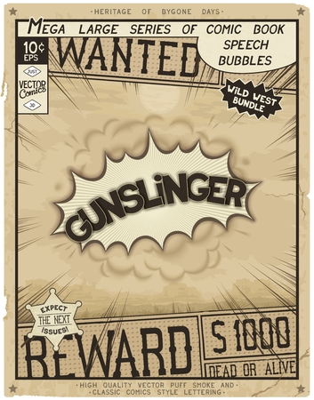 Gunslinger. Retro poster in style of times the Wild West. Comic speech bubble with speed lines and 3D explosion. Illustration