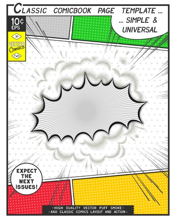 Free space Comic book page template. Comics speech bubble with speed lines and 3D explosion.
