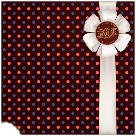 chocolate template wrapping with bow Illustration