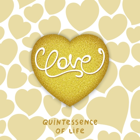Golden realistic 3d heart with calligraphy lettering - LOVE. Philosophical idea - Quintessence of life.  Vector illustration Illustration