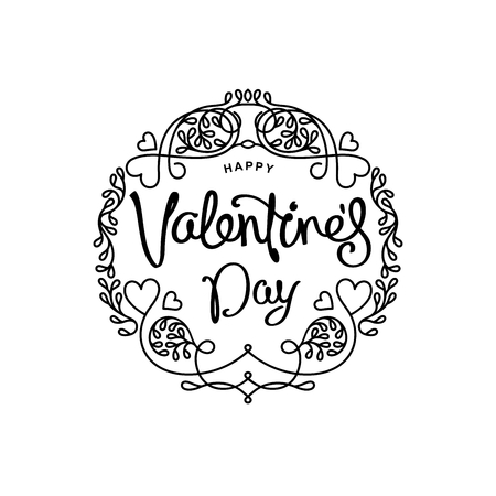 Happy Valentines Day greetings card. Mono line trendy emblem with handwritten calligraphy.  Vector elements. Illustration
