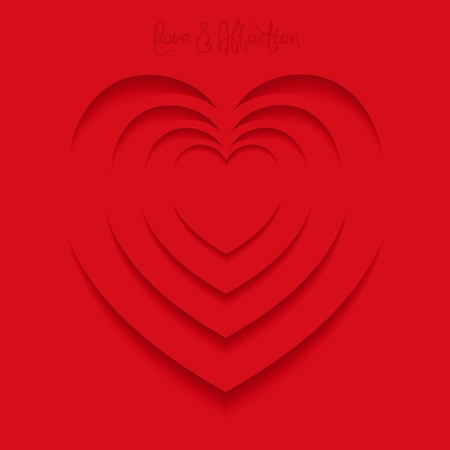 pulsing: Optical illusion in the heart shape - a symbol of love. Negative space design. Vector 3D illustration