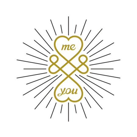 conceptual symbol: Me and you. Conceptual symbol of infinite love between two people. Vector sign design Illustration