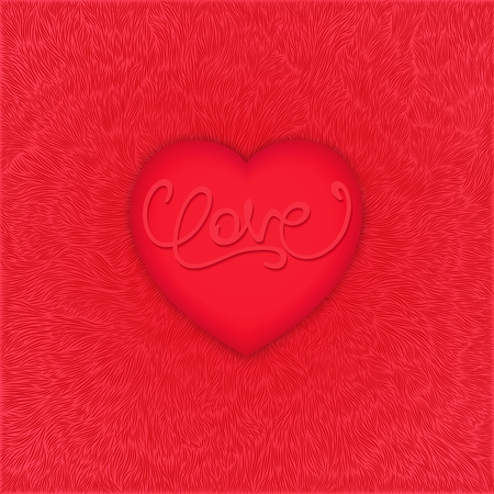 3d heart: Romantic realistic 3d heart with calligraphy lettering - LOVE. Soft fluffy texture background.  Vector illustration Illustration