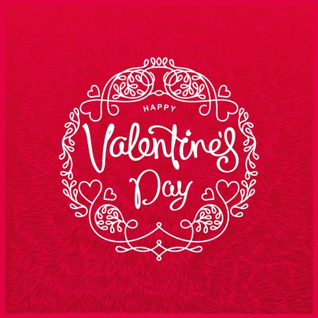 curlicues: Happy Valentines Day trendy emblem on background with unique texture.  Bright romantic template. Vector illustration