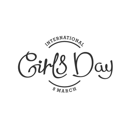 alternate: 8th March. Happy international Girls Day. Monochrome hand lettering label.  Alternate holiday title. Vector design elements.