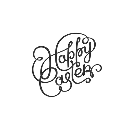 Happy Easter Day. Monochrome hand lettering label for holiday.  Vector design elements.
