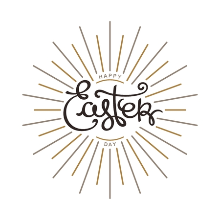 Happy Easter Day. Monochrome hand lettering label for greeting cards.  Trendy linear sunbeams. Vector design elements.