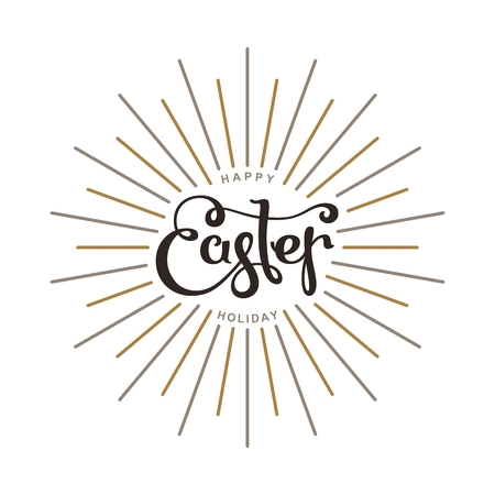 Happy Easter. Spring season holidays template. Lettering composition with linear rays.  Vector design elements. Illustration