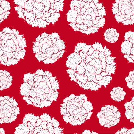 Pattern of stylized simplified flowers Carnations.  Beautiful graphics floral silhouettes. Illustration
