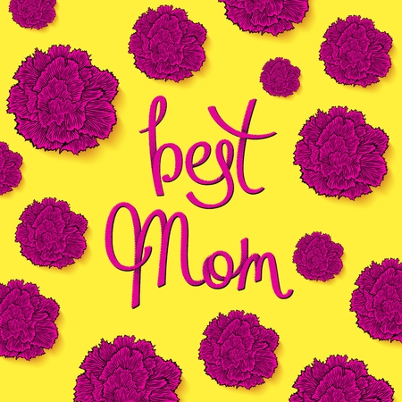 Best Mom. Floral greeting cards with carnations in 80-90s style. Decorative halftone lettering.