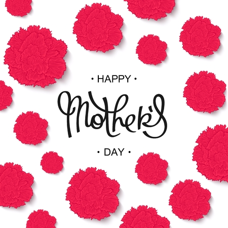 Happy Mothers Day handwritten lettering. Floral greeting cards with styled carnations.