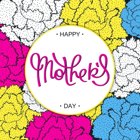 Happy Mothers Day creative carnations backdrop in 80-90s style.  Pop-art halftone lettering.
