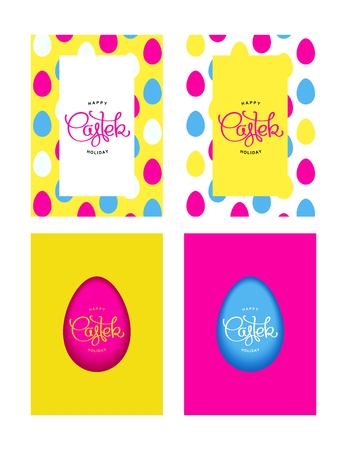 pascha: Happy Easter Holiday. Funny greeting multicolored cards in 80-90s style.