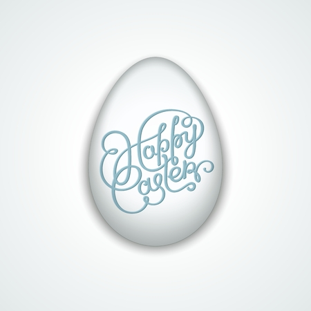 Happy Easter. Realistic white egg with handwritten label.