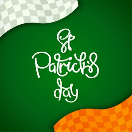 Creative stylized background for St. Patricks Day holiday.  The colors of the national flag of Ireland. Vector design elements.
