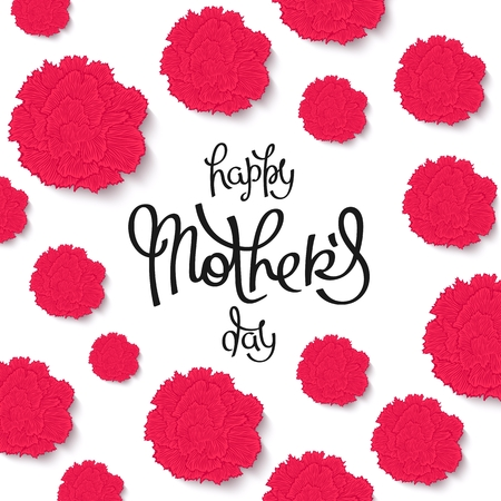 Happy Mothers Day. Beautiful red carnations backdrop and handwritten calligraphy.  Vector illustration