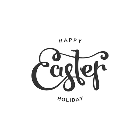 Happy Easter Holiday calligraphy. Vector isolated design elements. Illustration