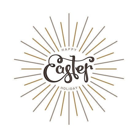 Happy Easter Holiday calligraphy. Trendy vector design elements. Illustration